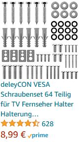 deleyCON VESA Schraubenset 64 Teilig für TV Fernseher