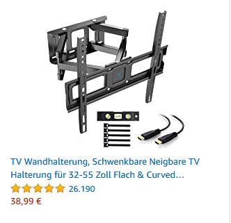 TV Wandhalterung, Schwenkbare Neigbare TV Halterung für 32-55 Zoll Flach & Curved