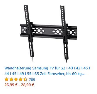 Wandhalterung Samsung TV für 32 I 40 I 42 I 43 I 44 I 45 I 49 I 55 I 65 Zoll Fernseher, bis 60 kg