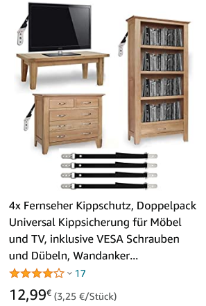 4x TV Kippsicherung Fernseher Kippschutz Doppelpack